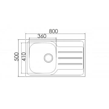 Excel Dimitra CMAS11 (80x50 cm) Νεροχύτης Ανοξείδωτος