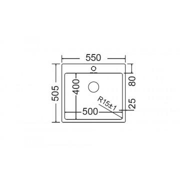 Fortinox Squadro 29055 (55x50,5) Νεροχύτης Ανοξείδωτος