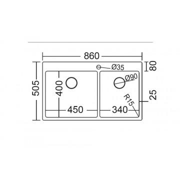 Fortinox Squadro 29285 (86x50,5) Νεροχύτης Ανοξείδωτος