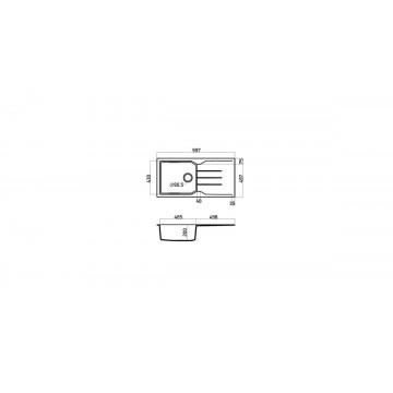 Sanitec Ultra Granite 811 100 1B 1D (100x50 cm) Νεροχύτης Γρανίτη