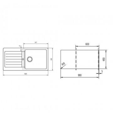 TEKA LUGO 60 B-TG L (100x50 εκ.) BLACK METALLIC